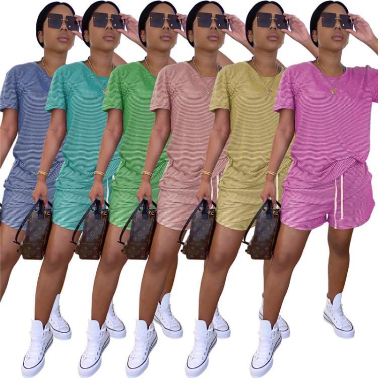 manches courtes femmes deux pièces ensemble survêtement de jogging Sportsuit costume pantalon sweat-shirt tenues short sport klw4704 vente chaude