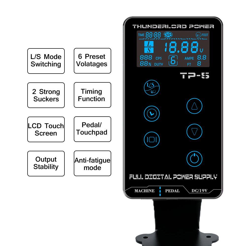 شاشة Thunderlord TP-5 الوشم التيار الكهربائي LCD تعمل باللمس رقمي الطاقة الوشم صندوق لفائف الروتاري آلة الوشم تسليم سريع