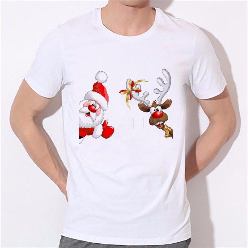 Estilo de dibujos animados de moda Feliz Navidad camiseta de impresión en 3D Space NAVIDAD FELIZ camiseta tes de las tapas ropa de la marca # 46-30