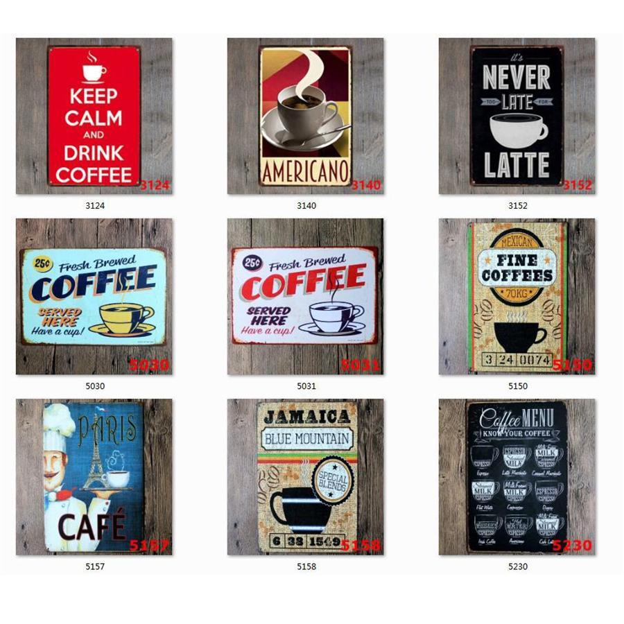 Entrar Café Tin Vintage metal Sinal da chapa do metal Decoração da parede do vintage para o Kitchen Coffee Bar Cafe Retro Metal Pôsteres Ferro Pintura JK2006XB