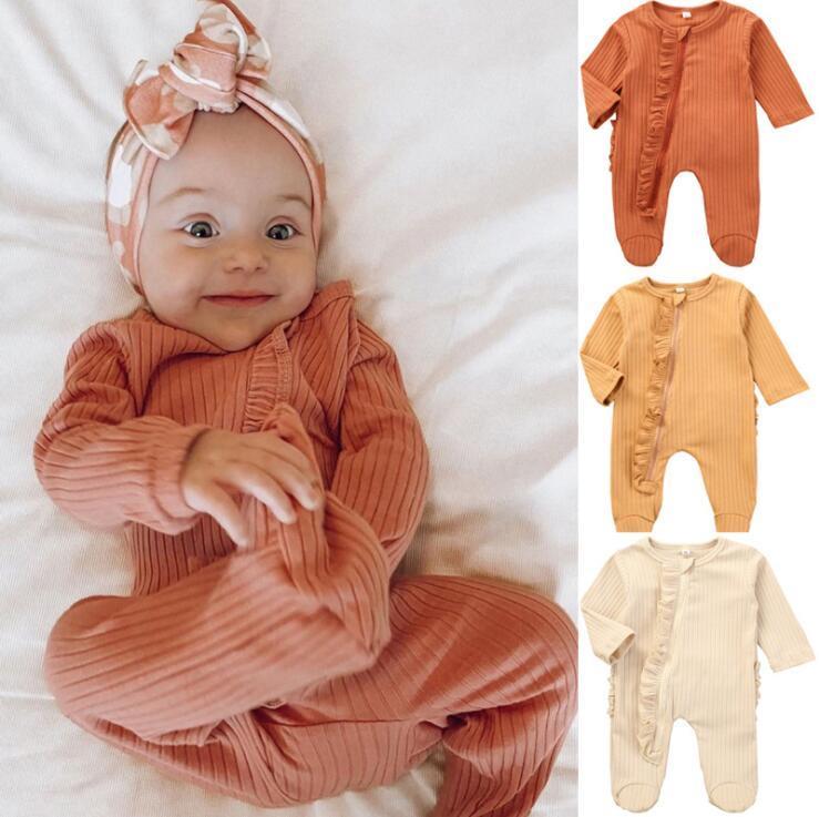 Baby Pagliaccetti per bambini Ragazze per bambini manica lunga tuta con cerniera infantile Pure colori Pagliaccetti Toddler Soft Cotton Vestiti arrampicata Rompere LSK759