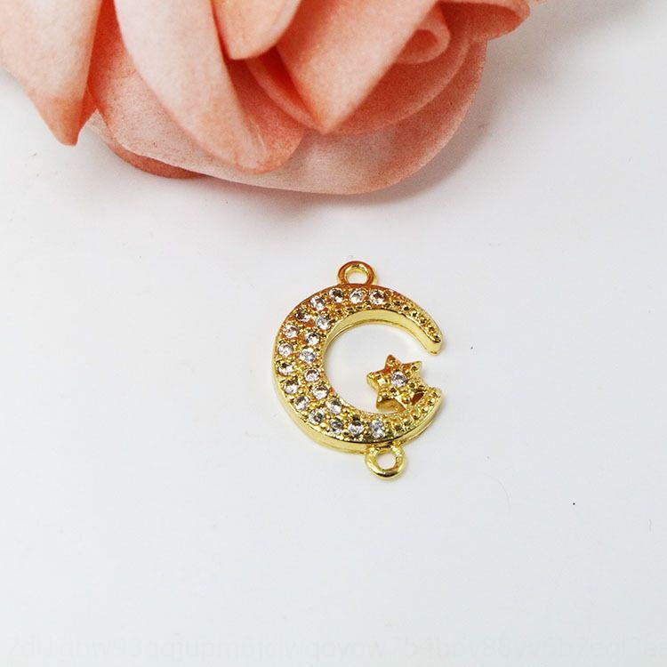 diy moonmicro kakma zirkon kolye bilezik zincir Diy zincire asılı S925 gerçek altın rengi kolye aksesuarları