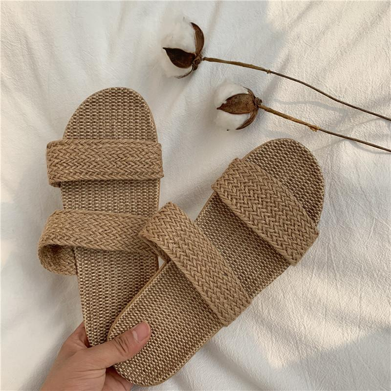 Whoholl Mulheres Chinelos Ladies linho Casual Slides 6 Summer Colors linho Belt Sandálias fêmeas Flip Flops amantes Piso Indoor Shoes