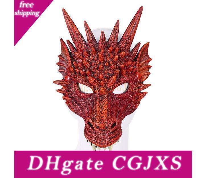 Mardi Gras Partito 3d maschera di drago Maschera Animal Costume Carnival Party Drago Cosplay Masquerade Maschera Pu Festive Masquerade
