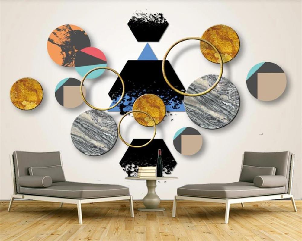 Классический 3D обои Nordic Стиль абстрактные геометрические формы ТВ фона Стена HD Улучшенный интерьер украшения 3d обои Mural