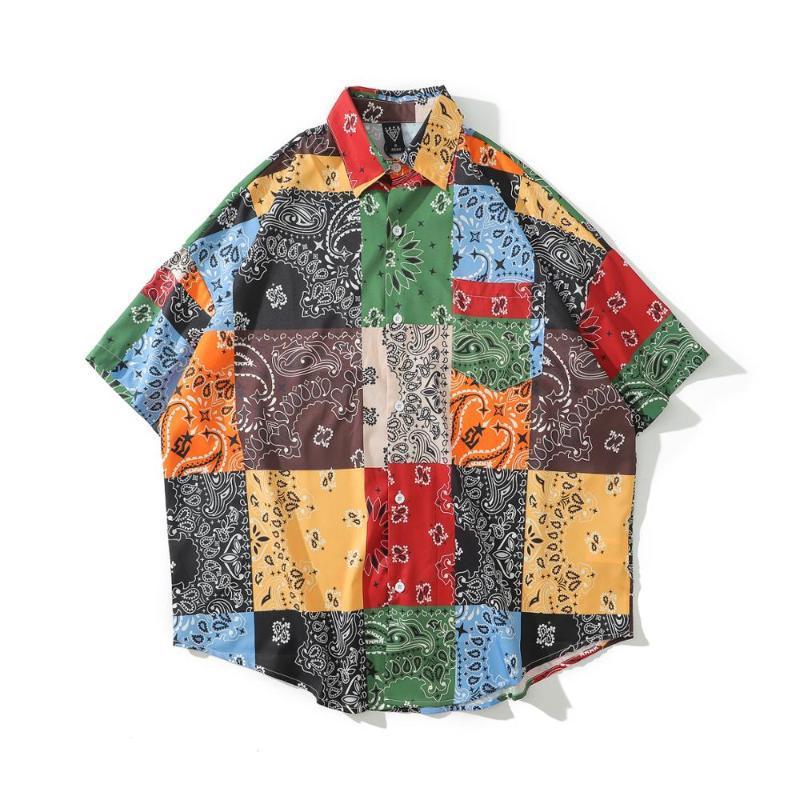 الرجال قميص بيزلي باندانا تحقق طبع الرجل قميص قصير الأكمام الأعلى blusas هاواي الأنثى ملابس الصيف دروبشيبينغ