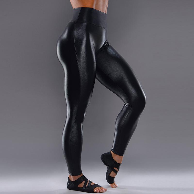 Preto Sexy Mulheres plus-size de couro Calças de cintura alta ginásio Yoga Pants Elastic Energia Sports Wear Ativo