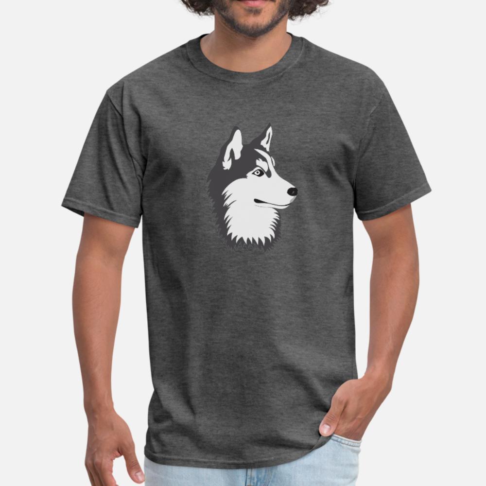 Husky Dog hombres de la camiseta de encargo 100% algodón cuello de O Familia La luz del sol camisa transpirable verano Familia