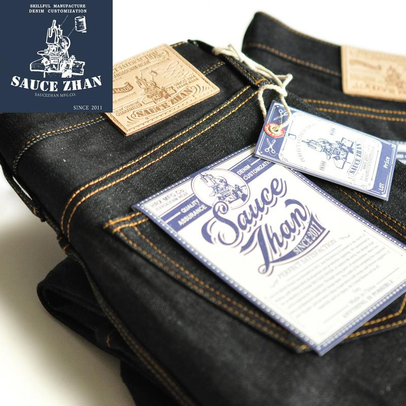 SauceZhan 315XX Slightly Tapered Selvedge Raw Denim Unwashed BLUE 14.5 Oz Motorcycle Jeans Men CX200820