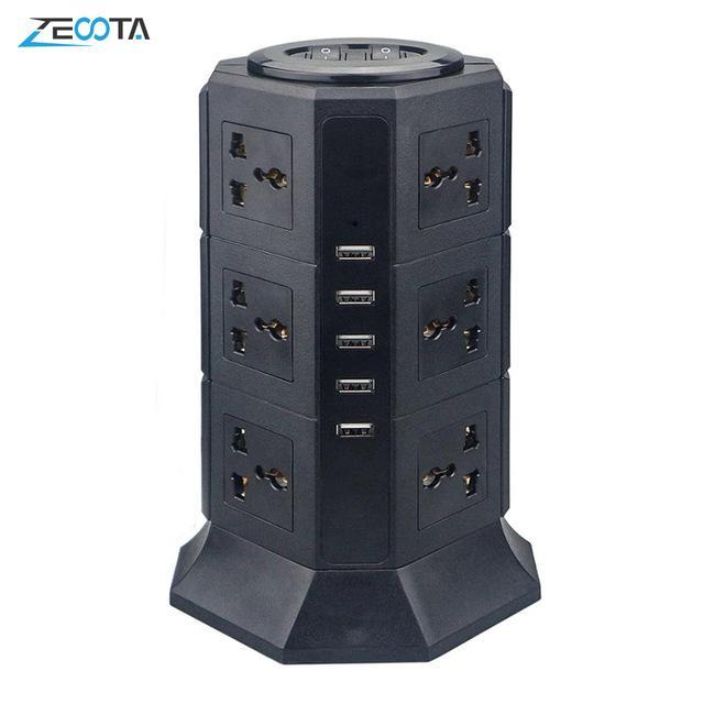 heap Extension Socket USB Power Strip Vertical 8/12 EU/UK/US/AU Electric Plug Universal Outlet Sockets Charger Surge Protector 6.6ft/2m E...