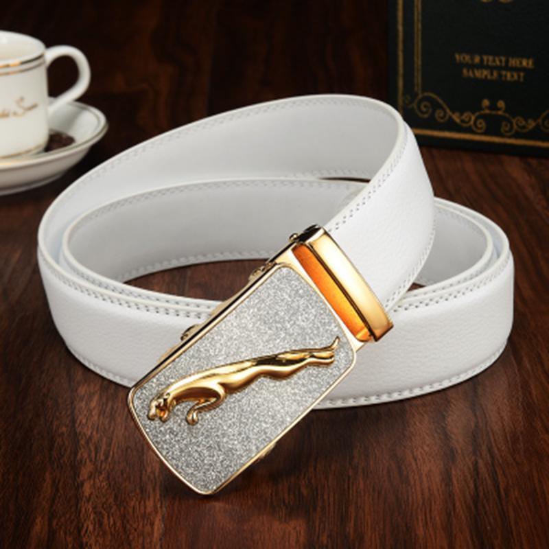 Nueva hebilla de metal Hombre Jeans Marca diseñador del mens genuino de lujo de la correa varón blanco Cinturones de cuero para hombres