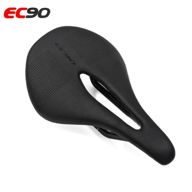 The New EC90 Carbono + Couro Road Bike Saddle MTB bicicleta Selas Mountain Bike Corrida Saddle PU respirável macio Almofada do assento