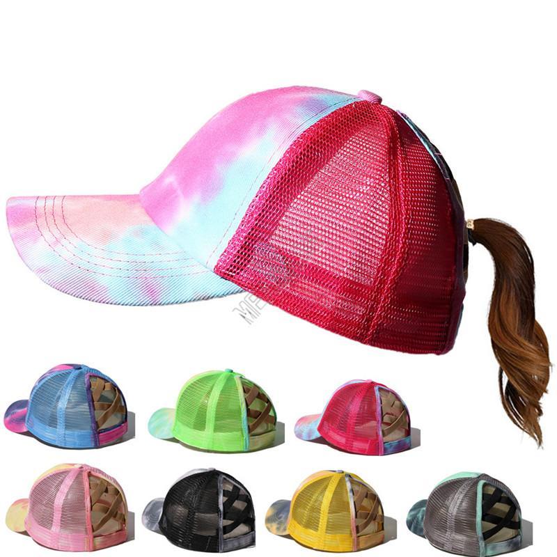 Tie Dye Criss Cross Ponytail Baseball Cap Men Women Washable Ball Cap Hats Adjustable Hip Hop Peaked Cap Teens Sun Visor Mesh Hats D92102