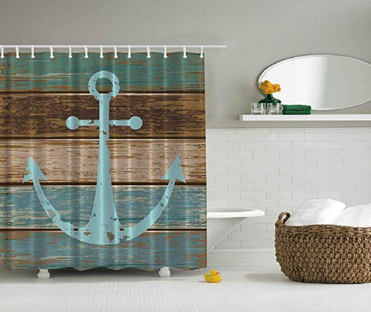 Cortina de ducha de la vendimia a prueba de moho resistente lavable 180 x 180 cm retro 3D Digital Impreso impermeable baño cortina de baño de poliéster Fabri