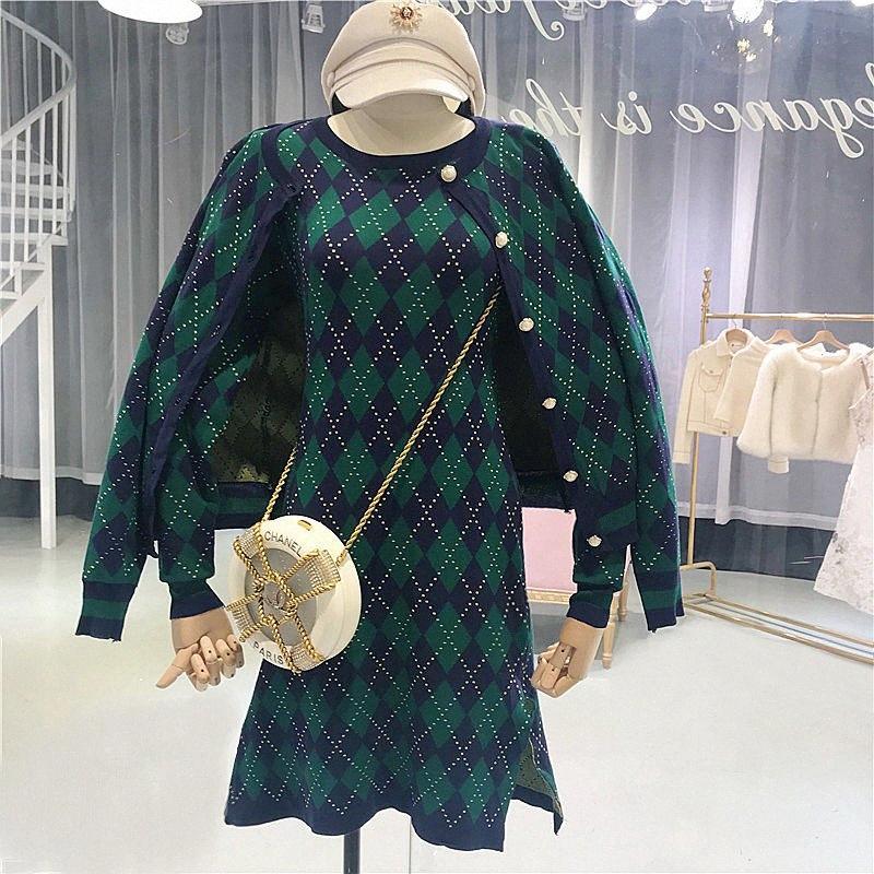 2018 automne nouvelle boucle simple rangée cardigan à manches longues + garniture taille haute à carreaux robe tricotée tir mis en division féminine xawi #
