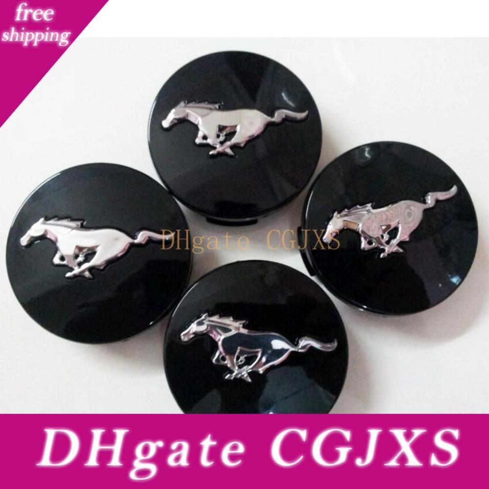 4x D: 2 +0,14 Quot; эмблема Гонки Alloy Wheel Center Black Hub Caps Cap Amp; серебряный бегущий конь для Ford Mustang 54, 5 мм Gt V6 Pony пятидесятых B