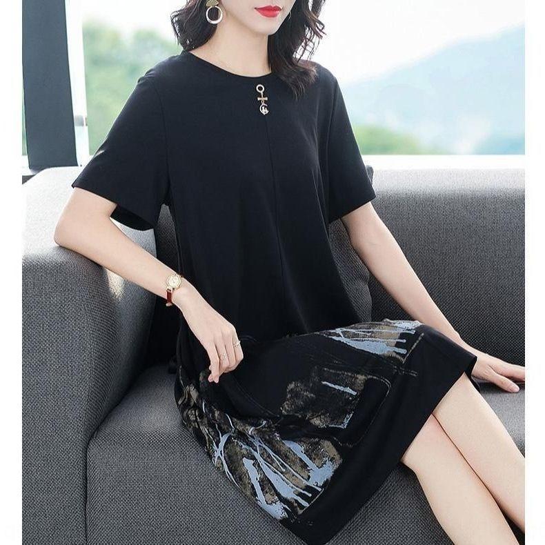 gran gama alta vestido suelto de adelgazamiento estilo del verano de las mujeres del tamaño negro 2020 nuevo verano vestido occidental acZRY Plump mm