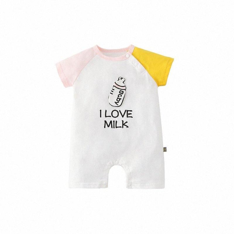 0-18M recién nacido Niños muchacha del bebé de la ropa de verano de alta calidad de algodón de manga corta Romper Carta Mono lindo Imprimir Trajes JGLa #