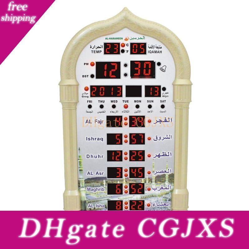 Мечеть Азан Часы Календарь намаз Часы настенные сигнализации ЖК-дисплей Цифровые настенные часы Декор Домашнее украшение Кварц иглы Песочные часы
