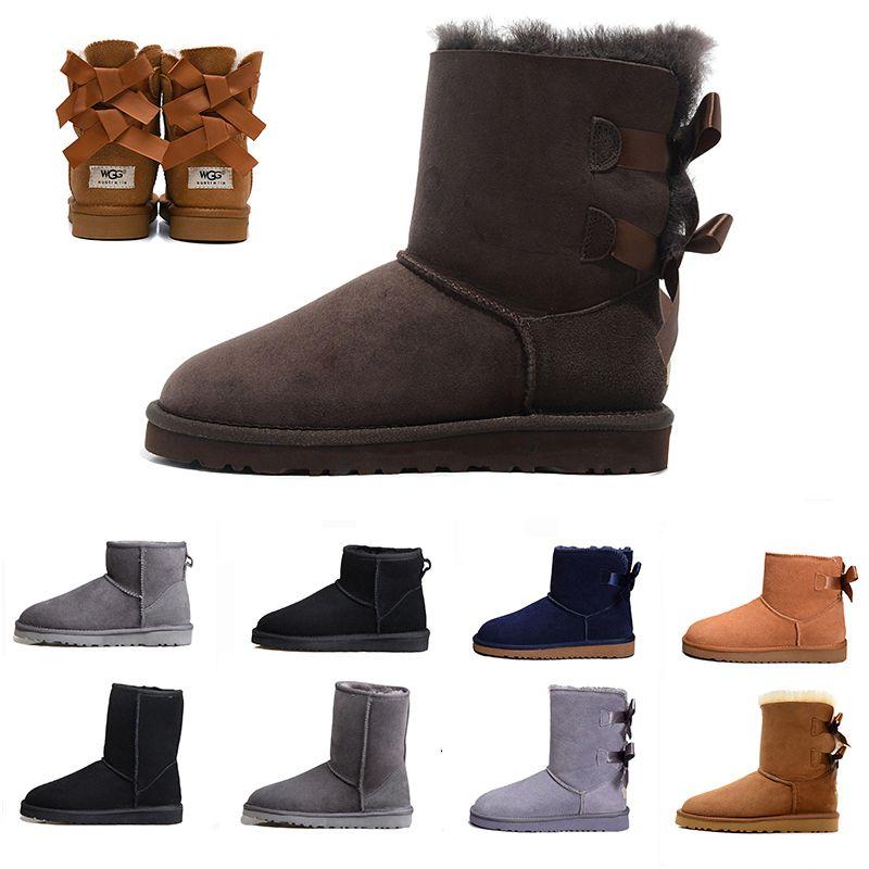 sneakers Bailey Bow mulheres pele Neve WGG botas de inverno mulheres de couro australiano clássico ajoelhar meio de comprimento ankle boot preta Grey café castanha