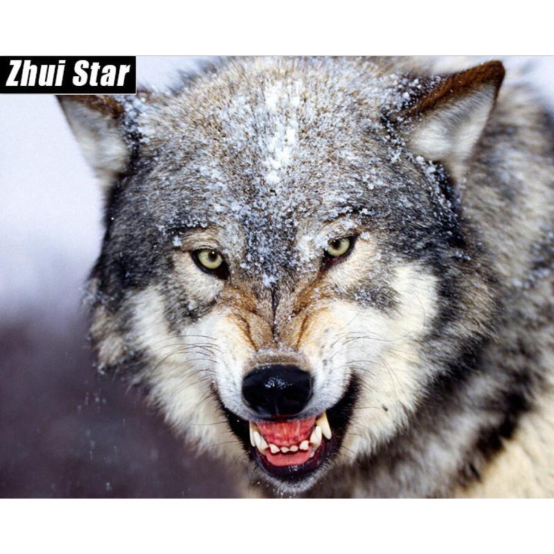 Алмазной вышивка снег волка голова Diy Алмазной картины вышивка креста Kit животные 50см * 40см Полного покрытие квадратного бриллиант мозаика XSH