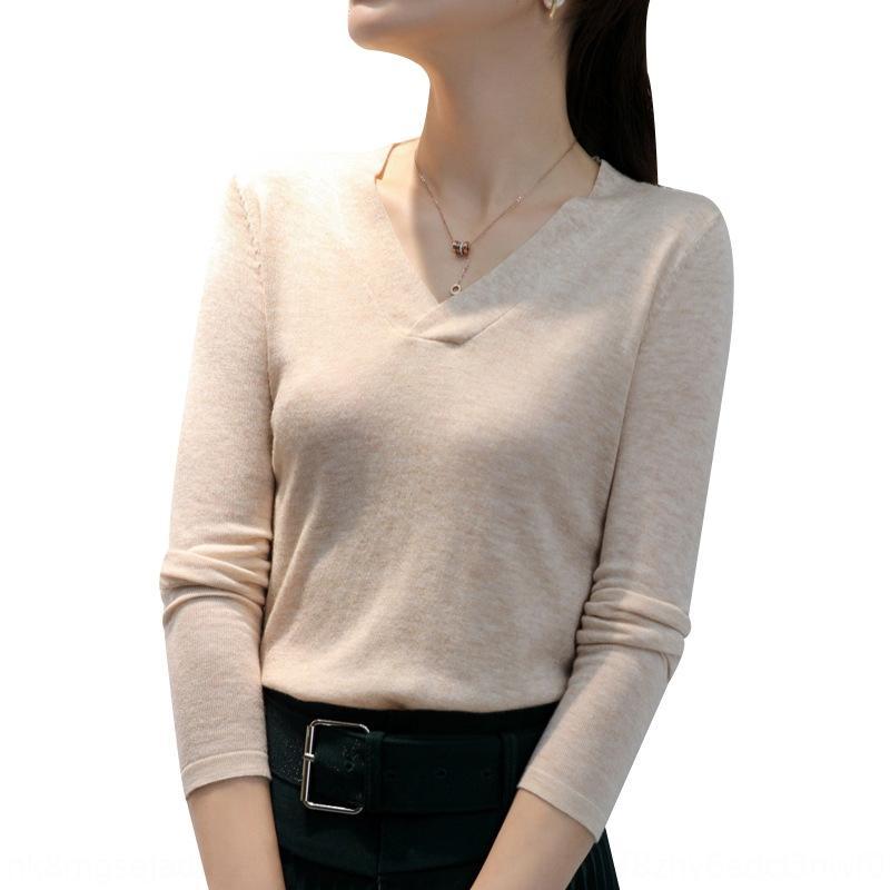 xwXej Runshi mizaç ince 2020 Sonbahar yeni kadın uzun kollu V yaka En kazak kazak merinos yünü üst
