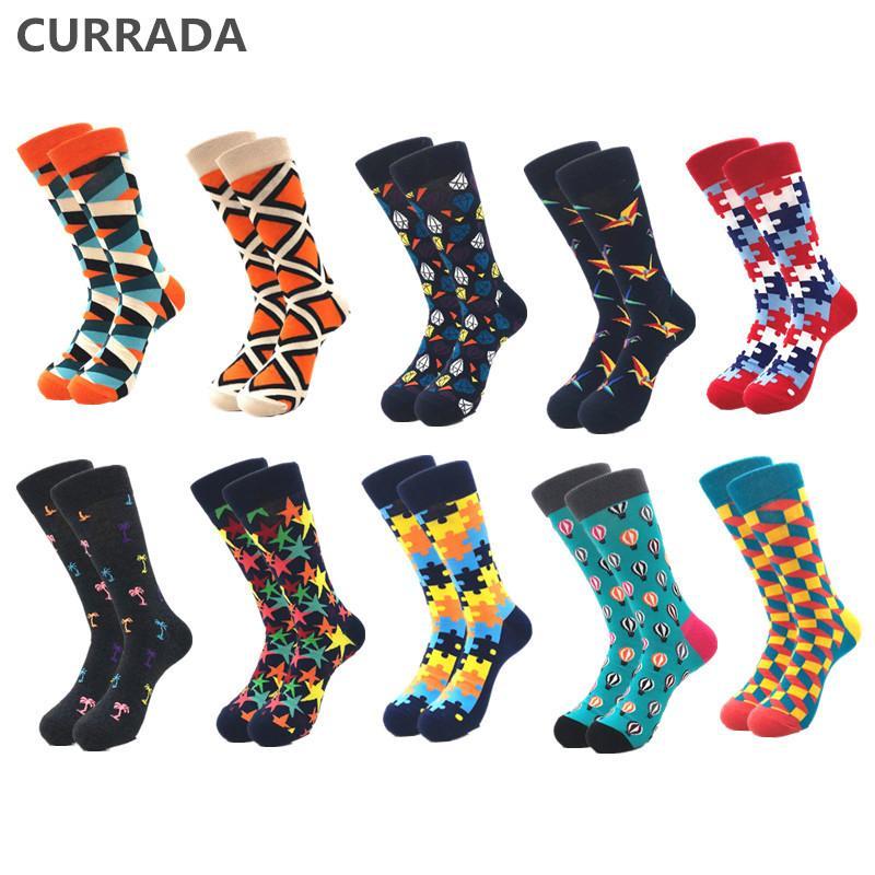 Мужские носки 10 вариантов / гораздо качество мужчин счастливый роскошный хлопок красочные смешные носки мода повседневная длительное мужское сжатие