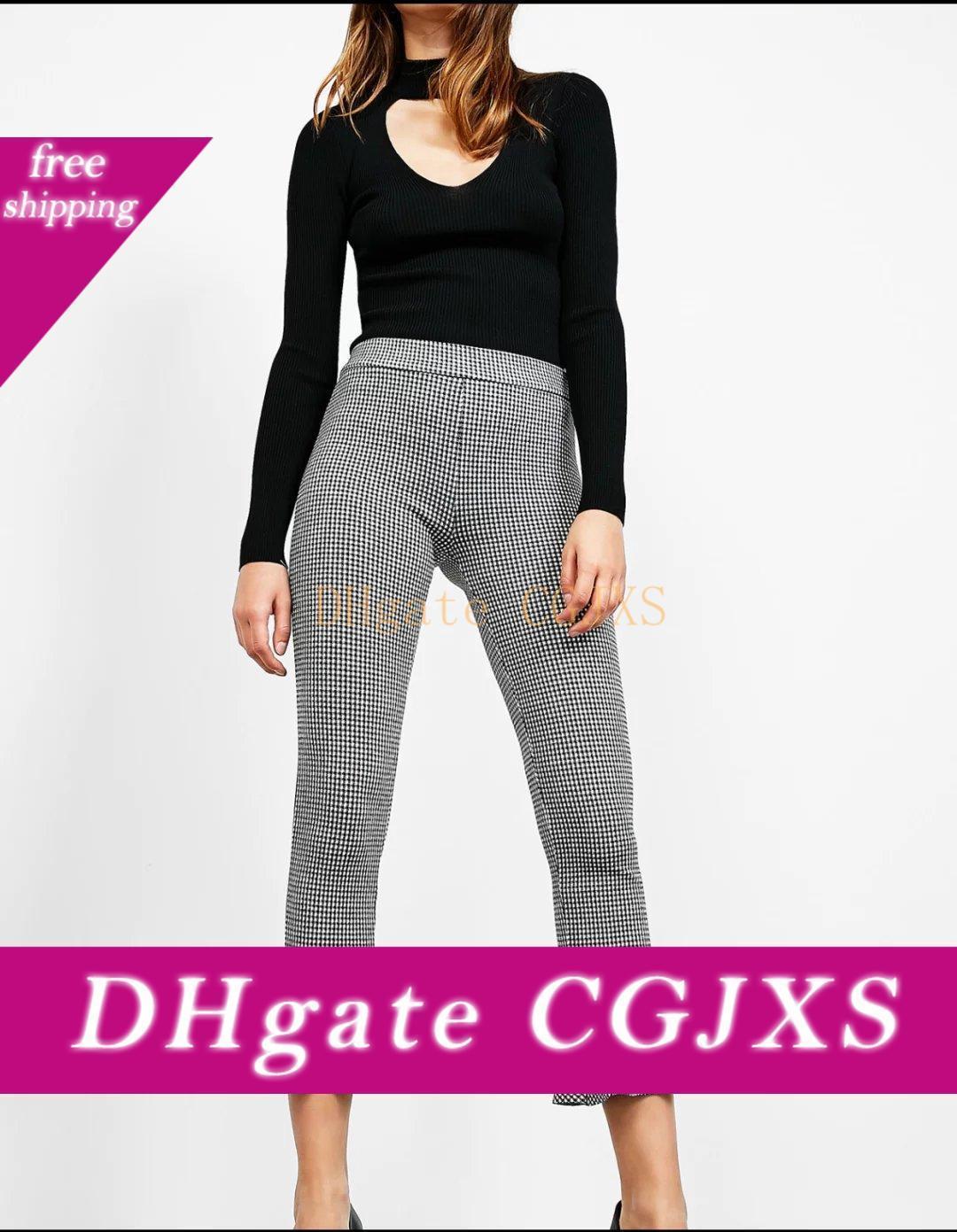 2017082513 Pantaloni Donne Houndstooth lavorato a maglia Flare Zipper stile europeo elastica laterale della caviglia -Lunghezza ansima i pantaloni