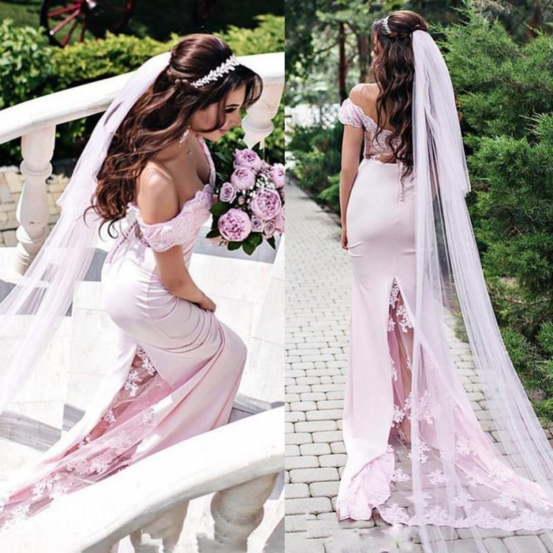 2021 Свадебные платья Простые плеча пляжа Свадебные платья Русалка развертки Поезд свадебное платье сшитое по размерам
