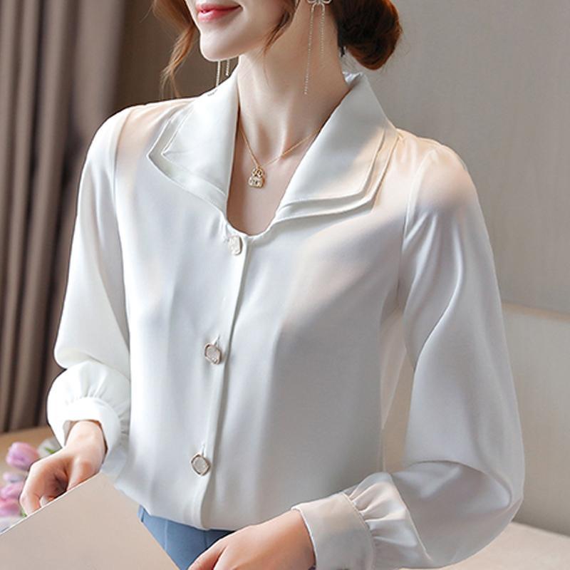 blouse à manches longues femmes 2020 femmes blouse blanche chemisiers en mousseline de soie chemises de dessus de chemise blusas Camisas mujer blusa D433