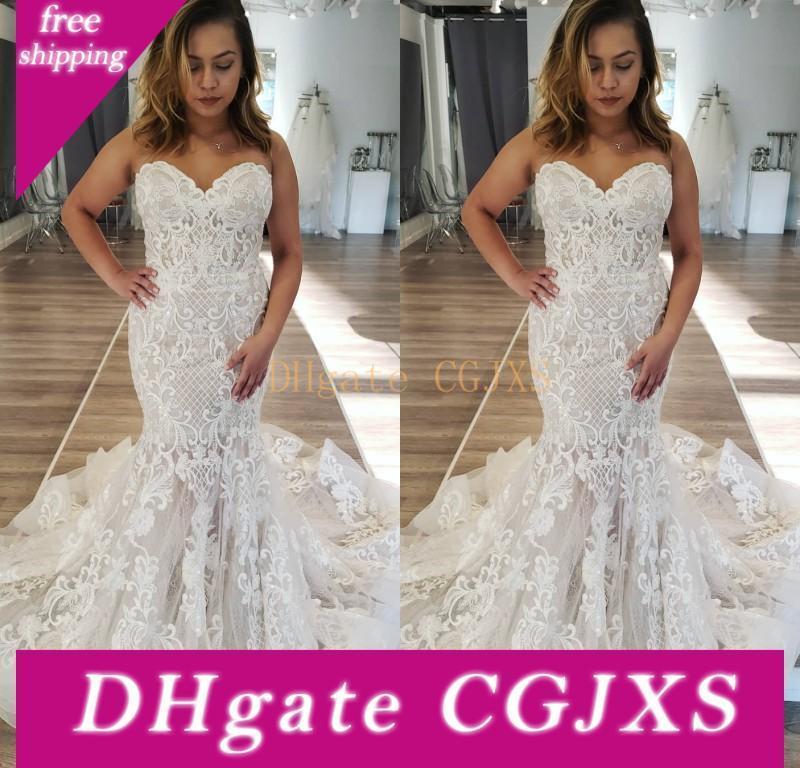 2019 Plus Size Mermaid Abiti da sposa in pizzo Appliques Sweetheart Neck sweep treno Backless Beach nuziale Gowns robe de Marie