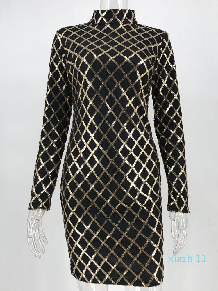Heiße Verkaufs-Frauen Herbst-Winter Kleid-reizvolle schwarze lange Ärmel Kleider Pailletten Diskothek Tragen Partei Bodycon Kleid vestido de festa
