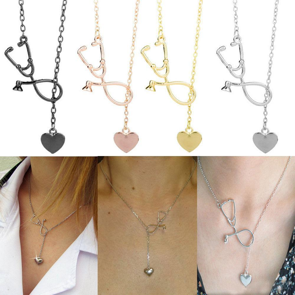 Hot Selling Medical Jewelry Alloy I Love You Heart Pendant Necklace Stethoscope Necklace for Nurse Doctor Jewelry Gift Wholesale