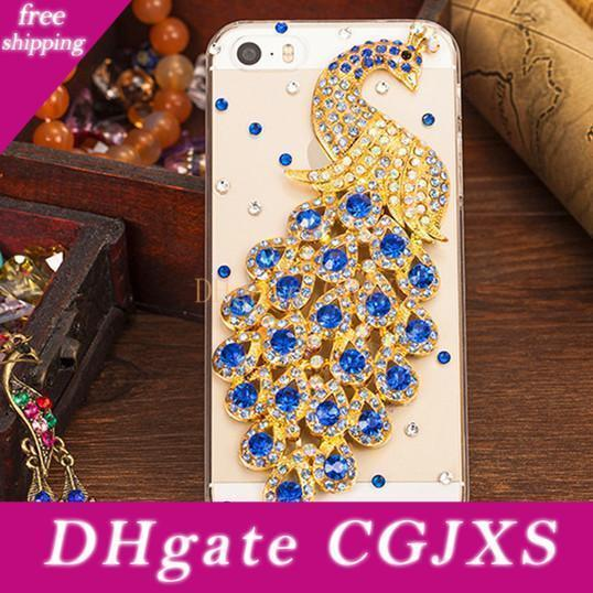 Diamond Peacock Colorful 3d Crystal Case Transparent Fashion Bling Rhinestone Cell Phone Protective Case Cover For Iphone 6s 5s