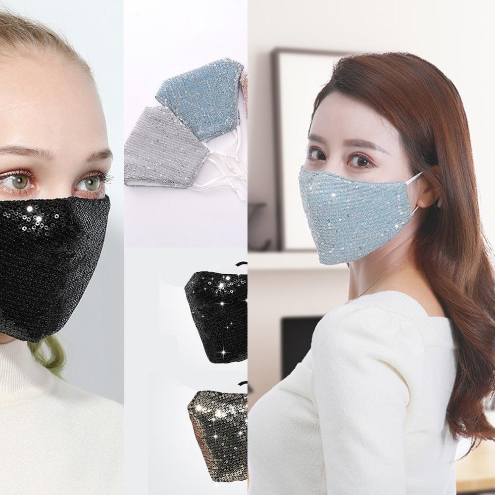 Lantejoulas Bling Em Máscaras da Anti-poeira de gelo cara de seda máscara PM2.5 exterior Boca Máscara Washab 3W4K HNZJ1