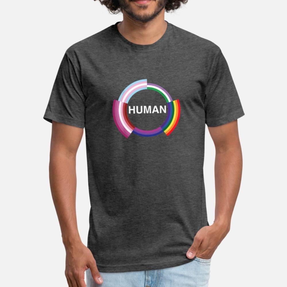 Bandeira humanos LGBT Mês do Orgulho Gay Transgender T Shi da camisa de t homens Character 100% algodão S-XXXL padrão aptidão autêntica Primavera Outono Vintage