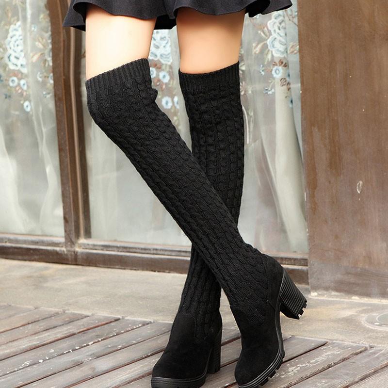 Sonbahar Boots Kadın Örme Kadınlar Diz Yüksek Boots Elastik İnce Moda Kış Isınma Uzun uyluk Ayakkabı