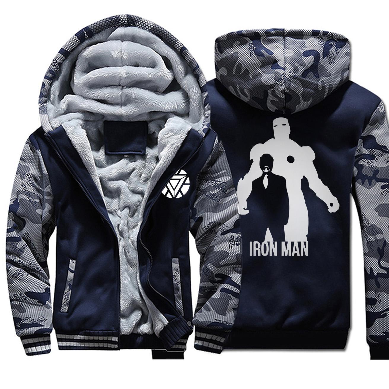Brasão For Man 2020 Inverno Engrosse velo Iron Man Moda casacos quentes casaco com capuz Coats Camouflage Zipper Superhero Mens Jackets
