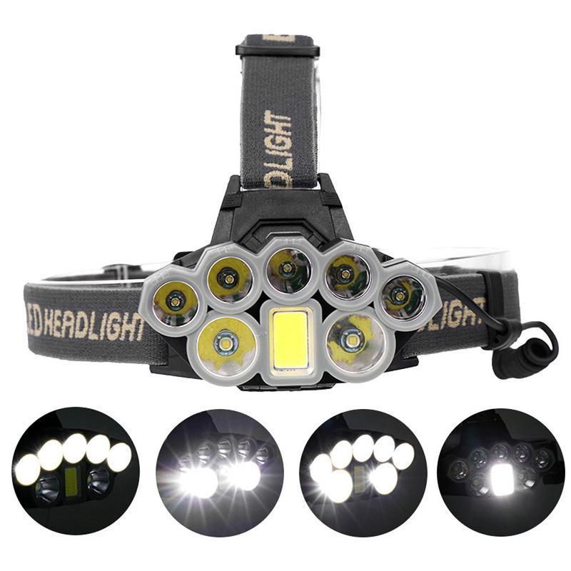 USB Rechargeable Headlight Super Bright Headlamp 2*T6+5*Q5+1*COB LED Head Lamp Flashlight Torch Head Light Lantern 18650 Battery