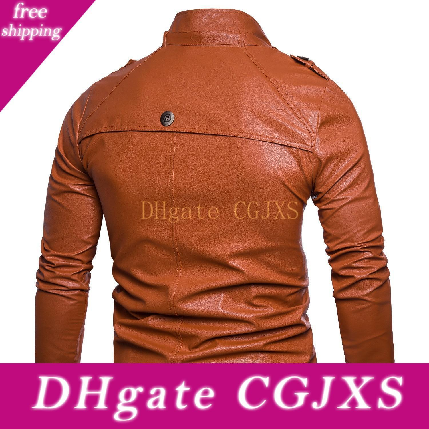 Supply Of Goods 2018 Autumn New Style Europe And America Men Multi -Button Locomotive Stand Collar Washing Leather Coat Jacket Me