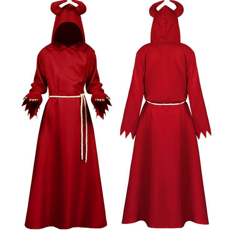 2020 Halloween Costume Unisex Cosplay Death Cape Long Hooded Cloak Wizard Witch Medieval Cape Red Theme Costume Party Robe for Adult Kids #6