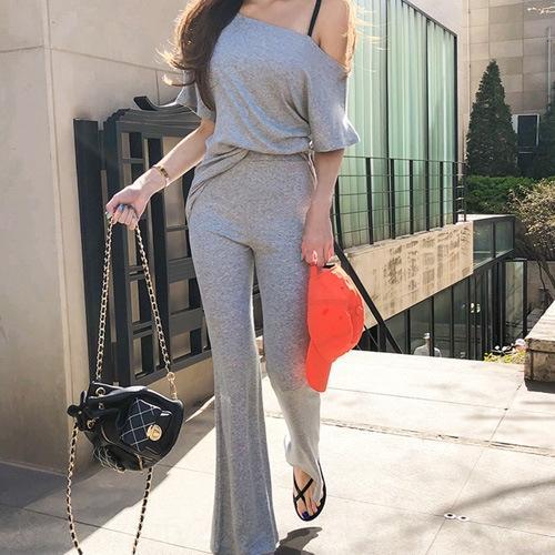 2RR5X 29t89 Горячая продажа корейских женщин случайные брюки длинные с короткими рукавами прямой футболка + высокие талии брюки случайные костюм футболку одежды