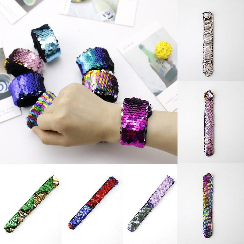 Double couleur Paillettes sirène Bracelets bracelet manchette bijoux Bangle de mariage de fête de Noël Cadeaux Favor Gratuit DHL WX9-1142