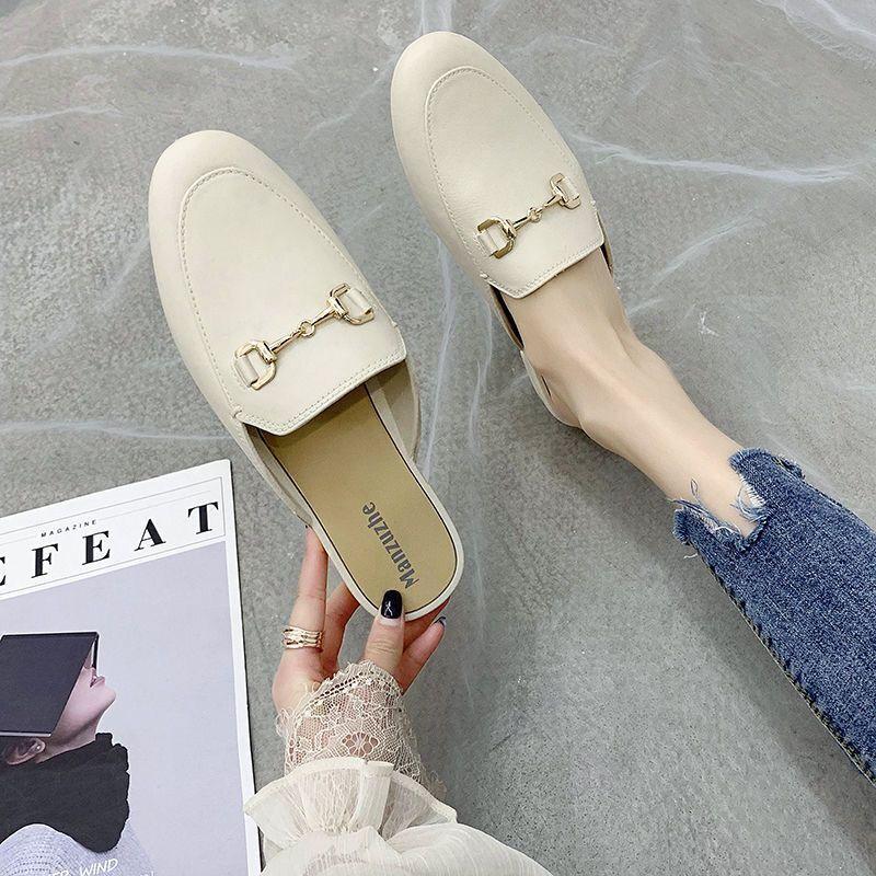 Katır Düşük Topuk Casual Ayakkabı İngiliz Toka Slaytlar Kare Toe Topuklar Yaz Ayakkabı LJ200903 günü 2019 Marka Tasarımcı Kadınlar Terlik Kayma