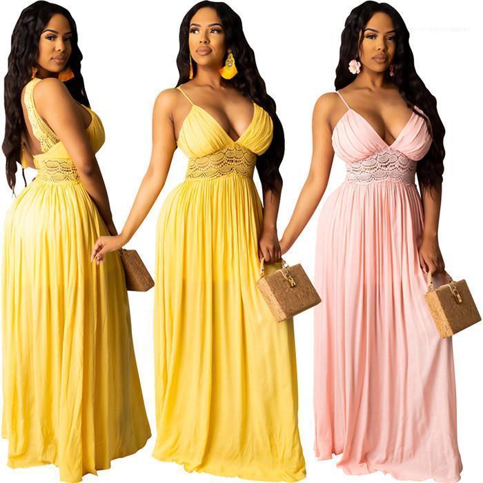 Casual Color de ropa de diseño para mujer de moda para el verano del remiendo del cordón de rayas ahueca hacia fuera sin respaldo vestidos hembras manera cuello en V Sólido