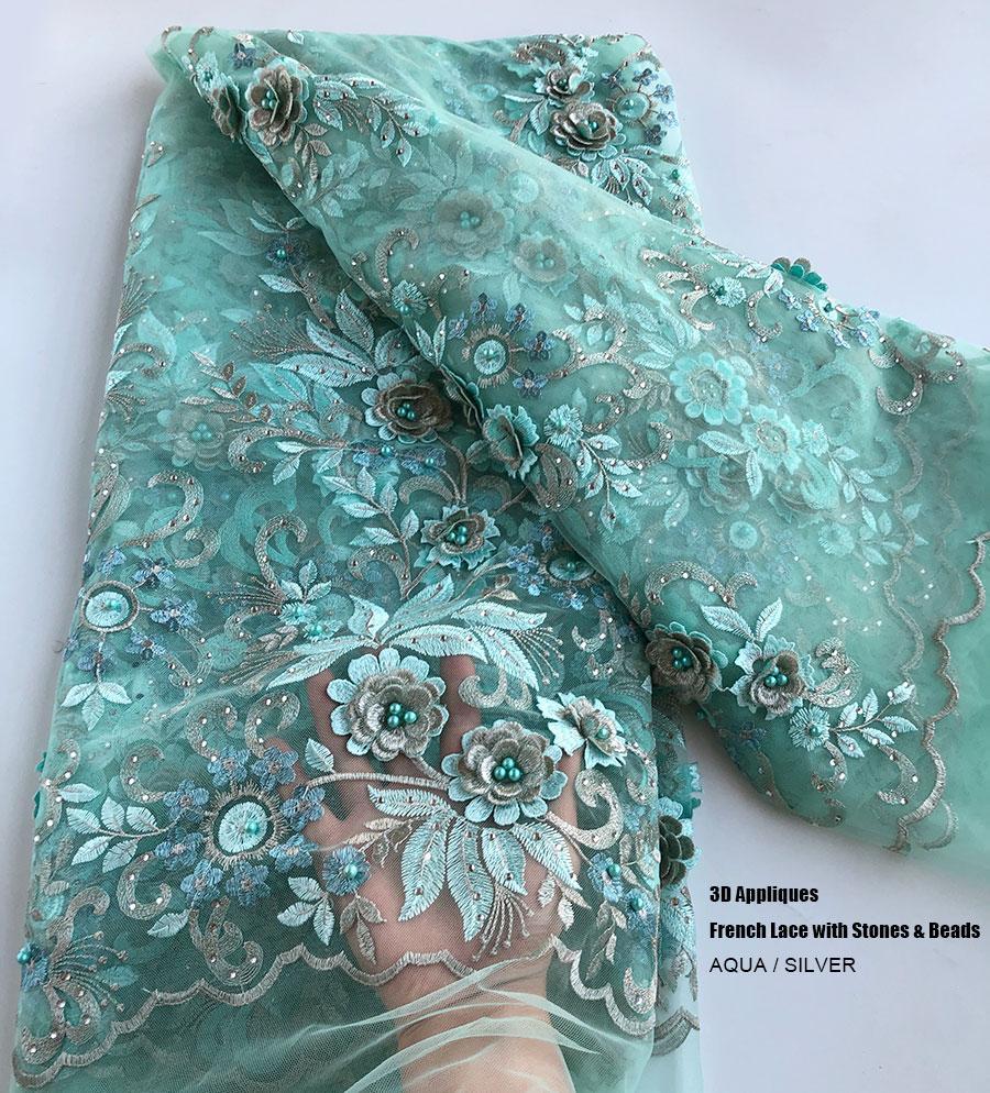 5 jardas roupas de costura grande 3D bordado floral laço francês tule tecido Africano Dubai Wedding Dress vestido de alta qualidade