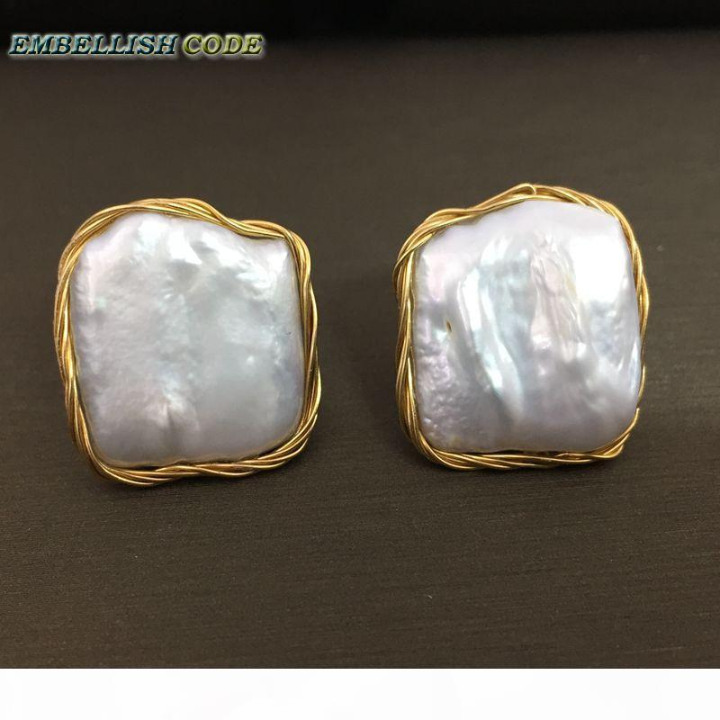 2018 NEW style Design Hand made winding elegant Baroque pearl golden color flat block square real natural pearls stud earrings