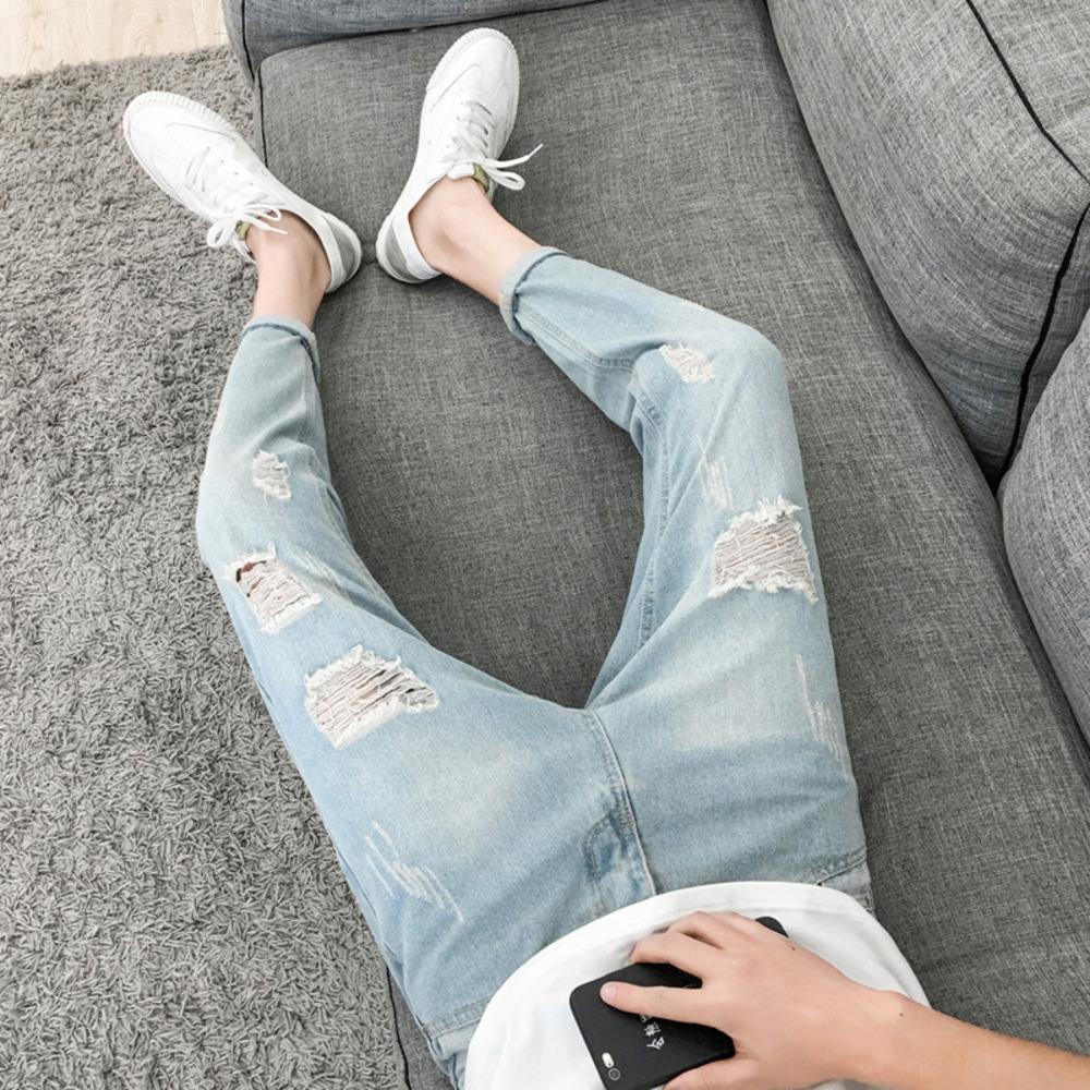 Омывается отверстие девять пунктов джинсы мужские Корейский стиль моды узкие джинсы узкие брюки пригонки все-матч нищий тощие брюки мужские