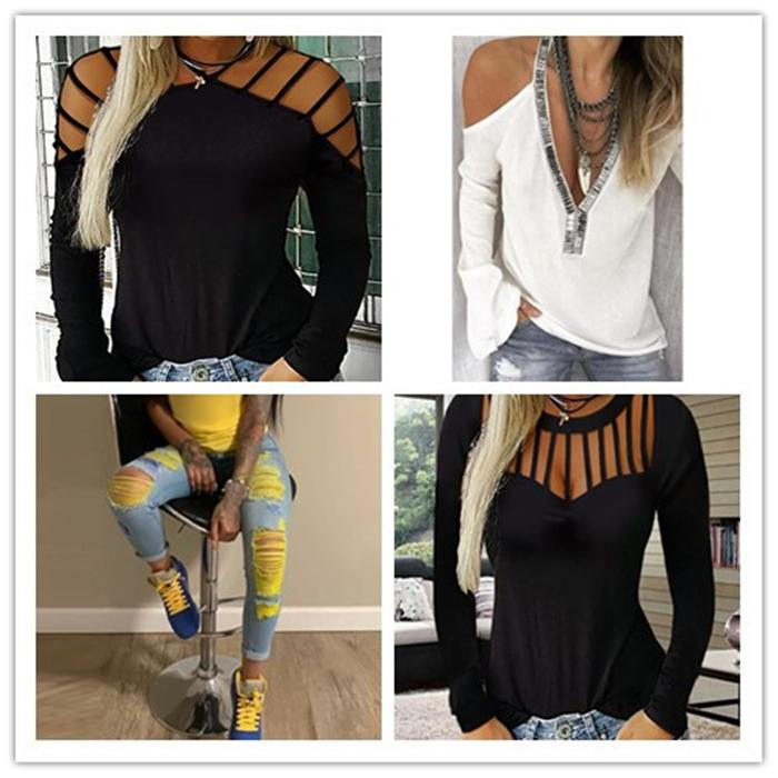 2020 إمرأة مصمم القمم الصلبة بلايز مثير Laides الجوف خارج تيز أزياء النساء البلوز كم طويل