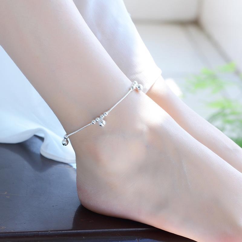 moda braccialetto d'argento wgrg5 semplici stile coreano e carino tre campana ornamenti catena elegante del tutto-fiammifero piedi della catena del piede accessori Bracciale